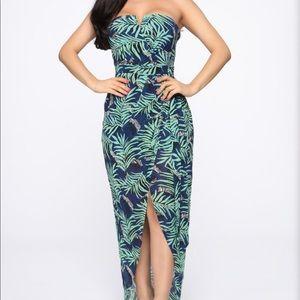 Fashion Nova Tropics maxi dress high low slit